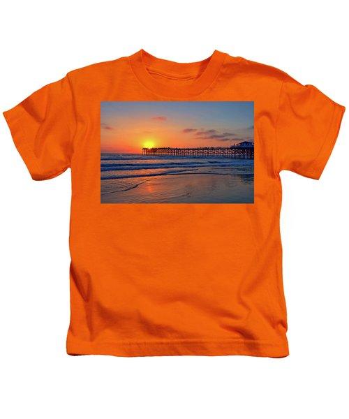 Pacific Beach Pier Sunset Kids T-Shirt