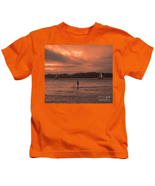 Paddleboarding On The Great Peconic Bay Kids T-Shirt