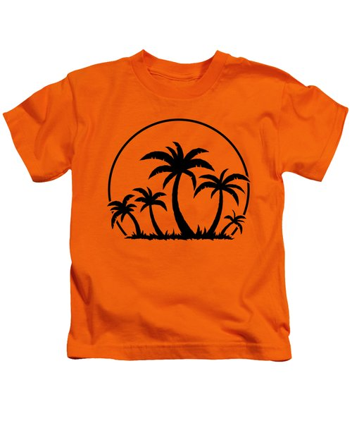 Palm Trees And Sunset In Black Kids T-Shirt