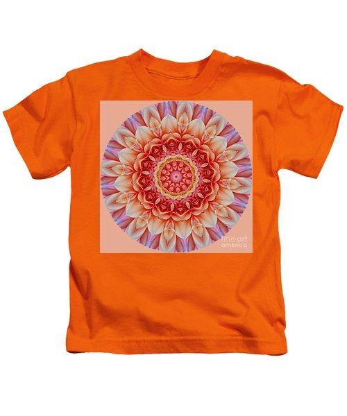 Peach Floral Mandala Kids T-Shirt