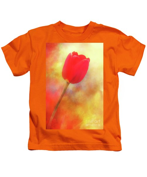 Red Tulip Reaching For The Sun Kids T-Shirt