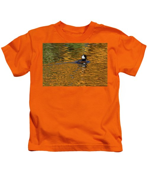 Reflecting With Hooded Merganser Kids T-Shirt