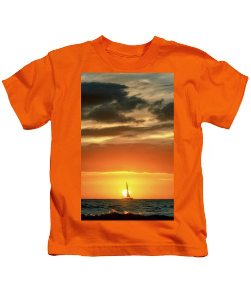 Sailboat In Front Of A Hawaiian Sunset Kids T-Shirt