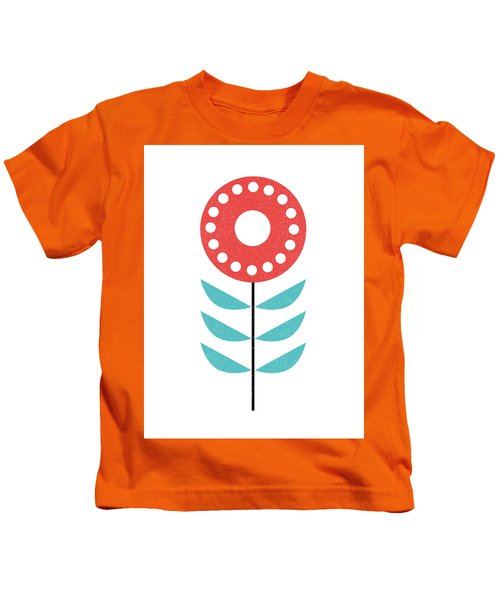 Scandinavian Light Coral Flower Kids T-Shirt