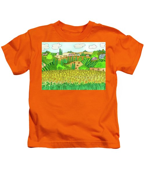 Sunflower French Countryside Kids T-Shirt