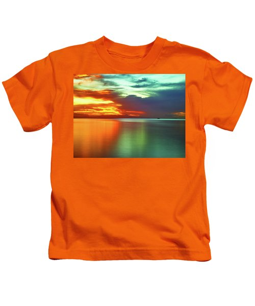 Sunset And Boat Kids T-Shirt