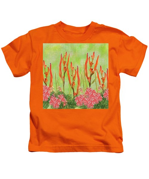 Tropical Floral Print Lime Green Batik Kids T-Shirt