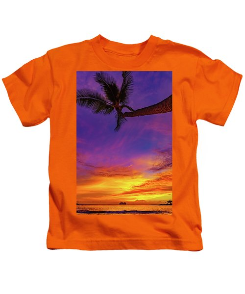 Vibrant Kona Inn Sunset Kids T-Shirt