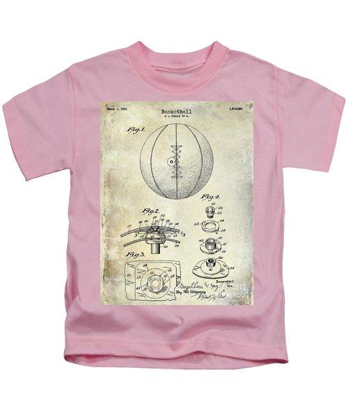 1927 Basketball Patent Drawing Kids T-Shirt by Jon Neidert