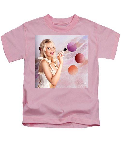 Beauty Woman Using Rouge Blush Color Pallet Kids T-Shirt