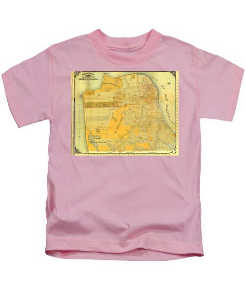 Britton And Reys Guide Map Of The City Of San Francisco. 1887. Kids T-Shirt