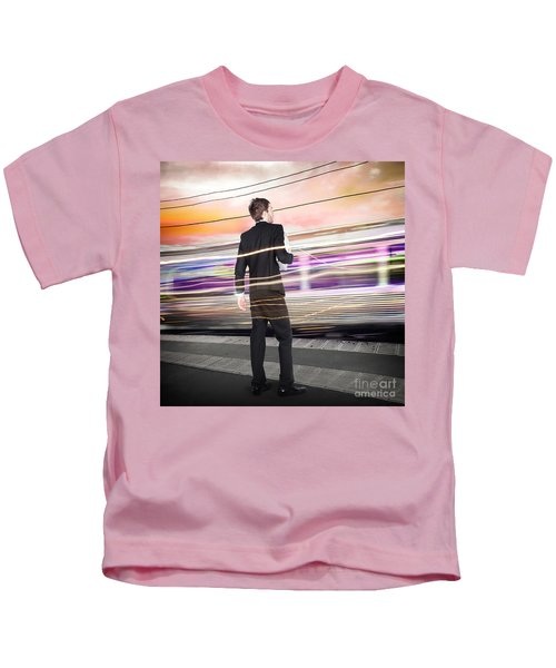 Business Man At Train Station Railway Platform Kids T-Shirt