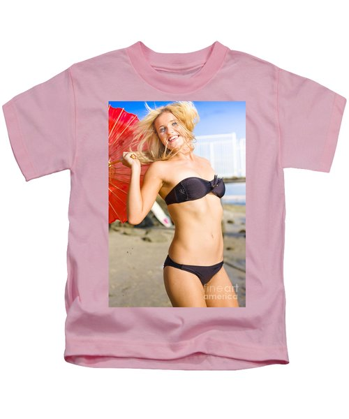 Happy And Excited Woman Jumping At Beach Kids T-Shirt