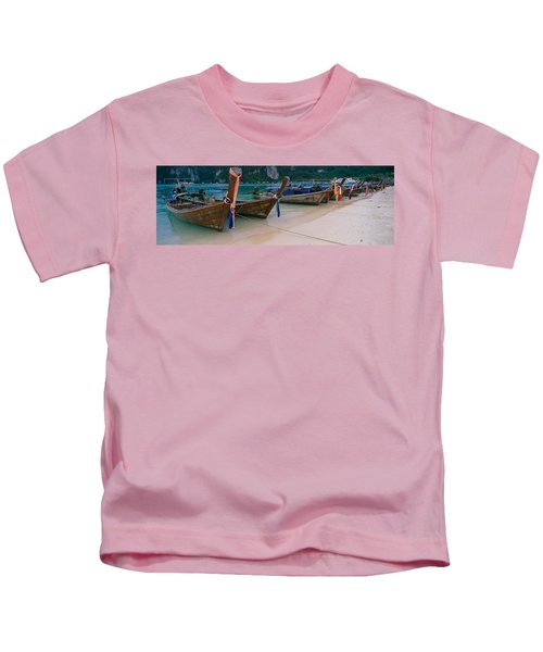 Longtail Boats Moored On The Beach Kids T-Shirt