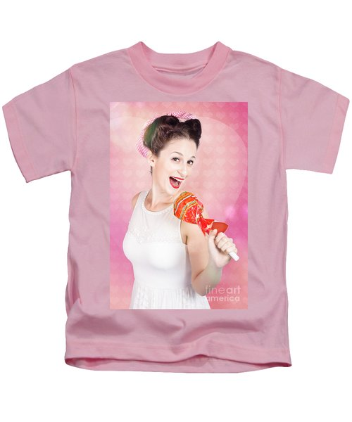Mc Female Pin Up Singing With Lollipop Microphone Kids T-Shirt