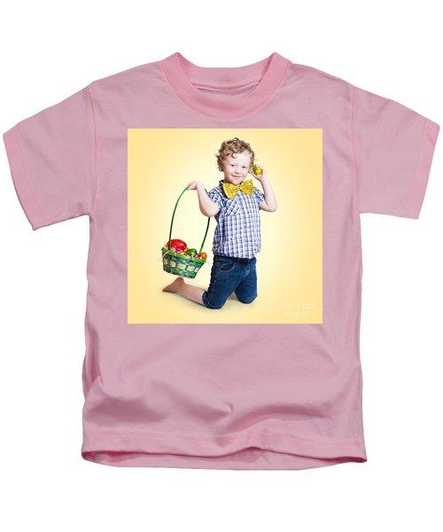 Sweet Little Child Holding Easter Egg Basket Kids T-Shirt