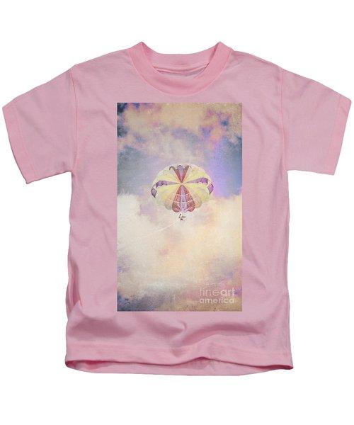Vintage Parachute In Clouds Kids T-Shirt
