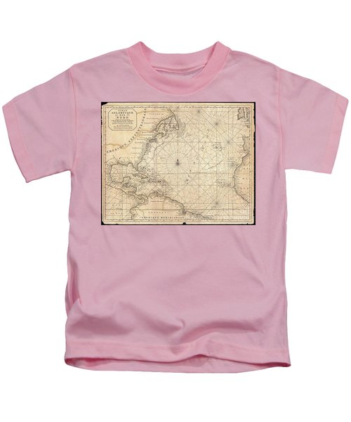1683 Mortier Map Of North America The West Indies And The Atlantic Ocean  Kids T-Shirt