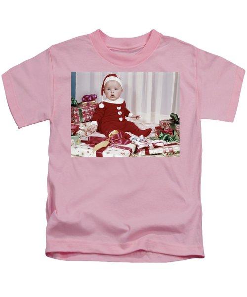 1960s Amazed Baby In Santa Suit Sitting Kids T-Shirt
