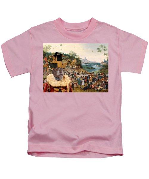 Korthals Pointing Griffon Art Canvas Print Kids T-Shirt by Sandra Sij