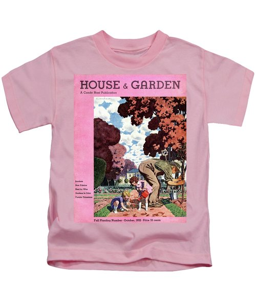 A House And Garden Cover Of People Gardening Kids T-Shirt