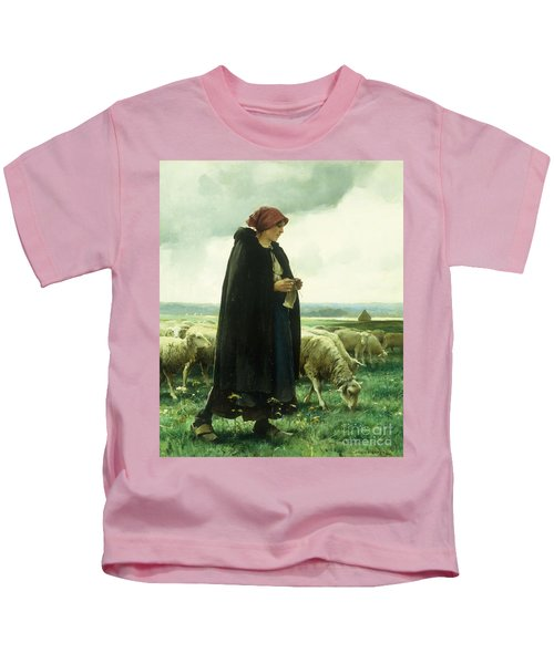 A Shepherdess With Her Flock Kids T-Shirt
