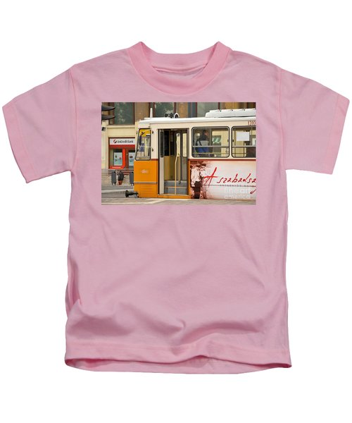 A Yellow Tram On The Streets Of Budapest Hungary Kids T-Shirt