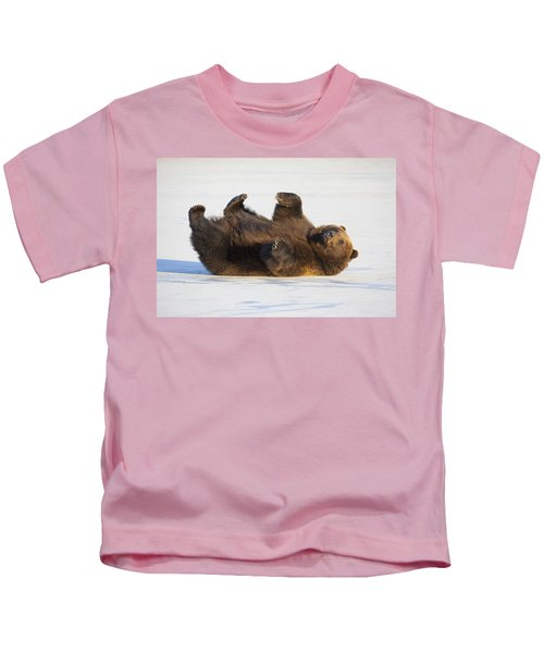 Adult Brown Bear Rolling On Its Back In Kids T-Shirt