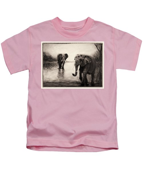 African Elephants At Sunset Kids T-Shirt