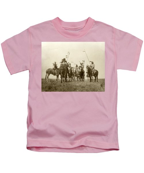 Atsina Warriors On Horseback Kids T-Shirt