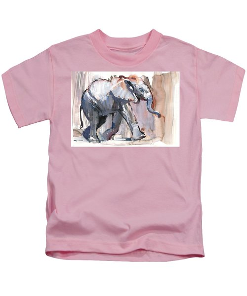 Baby Elephant, 2012 Mixed Media On Paper Kids T-Shirt