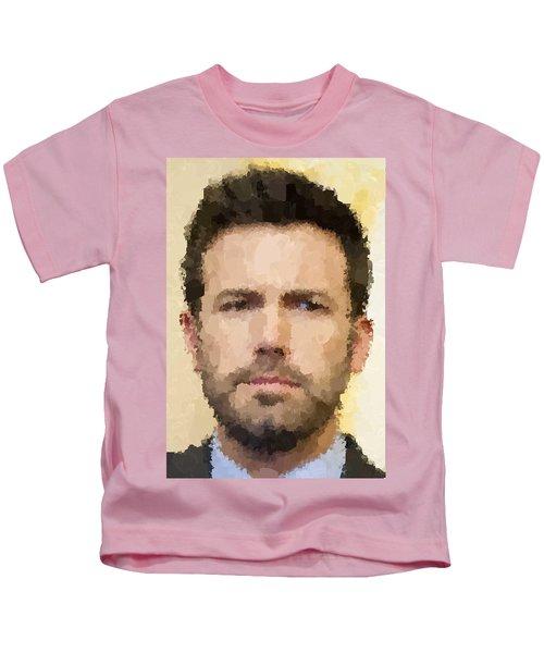 Ben Affleck Portrait Kids T-Shirt by Samuel Majcen
