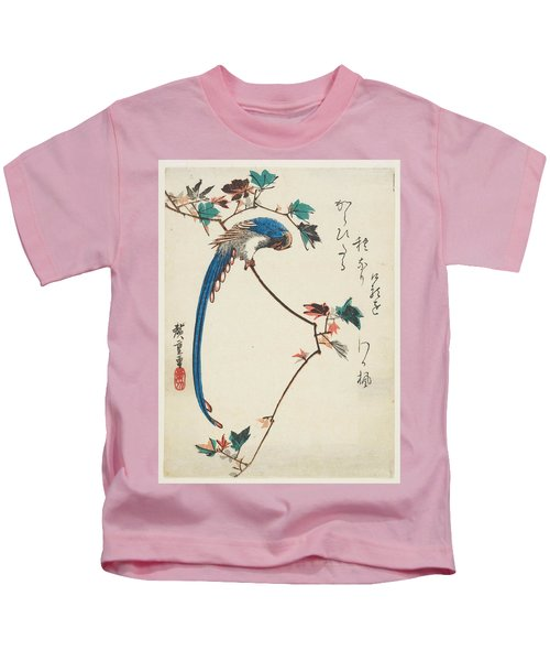 Blue Magpie On Maple Branch Kids T-Shirt
