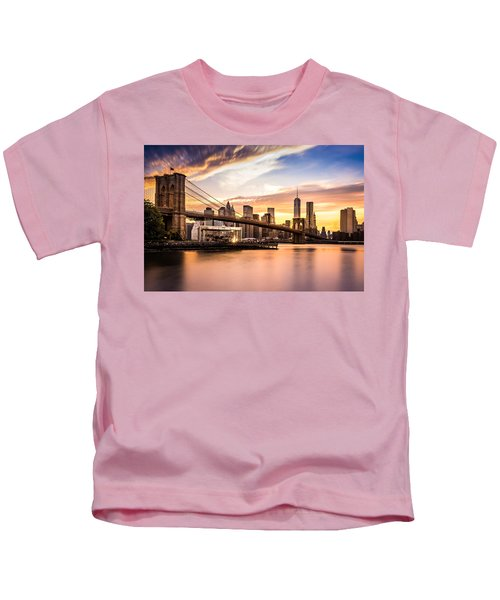 Brooklyn Bridge At Sunset  Kids T-Shirt