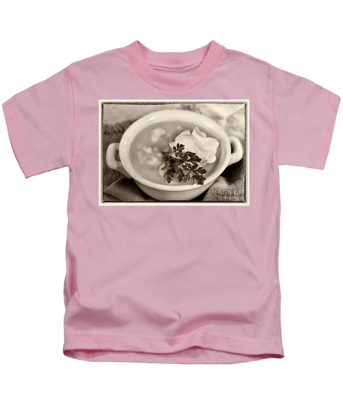 Cauliflower Soup Sepia Tone Kids T-Shirt by Iris Richardson