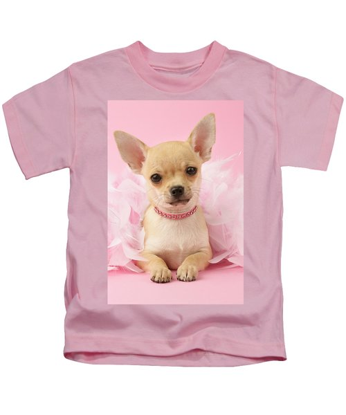 Chihuahua With Feather Boa Kids T-Shirt