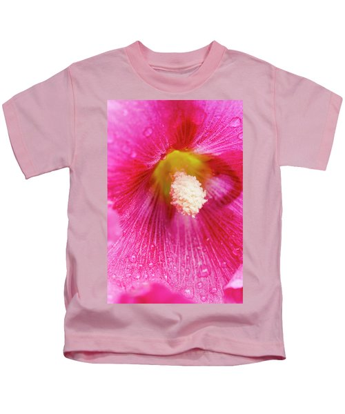 Close Up Of Hollyhocks  Alcea Rosea Kids T-Shirt