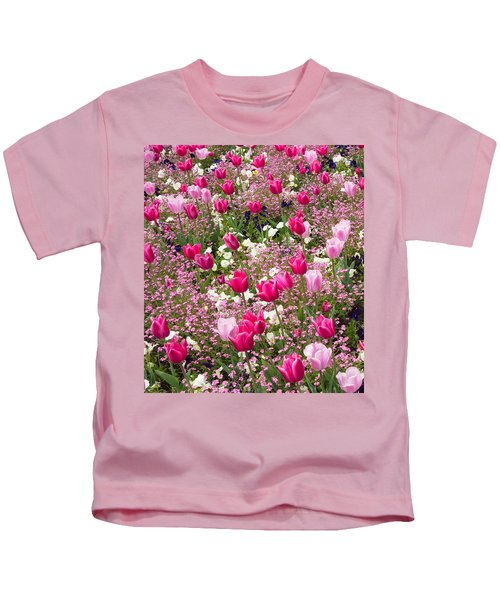 Colorful Pink Tulips And Other Flowers In Spring Kids T-Shirt