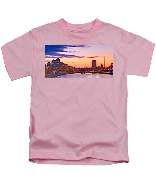 Dublin Skyline At Dusk / Dublin Kids T-Shirt