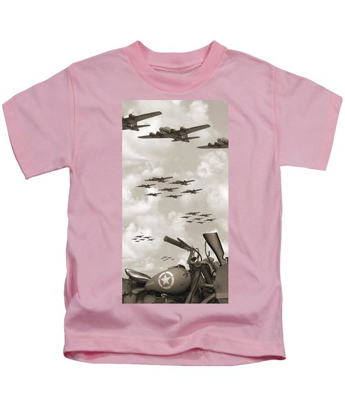 Indian 841 And The B-17 Panoramic Sepia Kids T-Shirt
