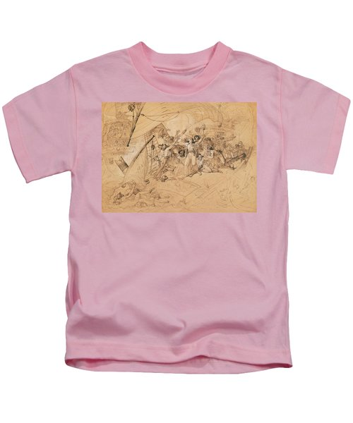 Le Vengeur Du Peuple Sinking At The Battle Of Ouessant, 1st June 1794 Graphite On Paper Kids T-Shirt