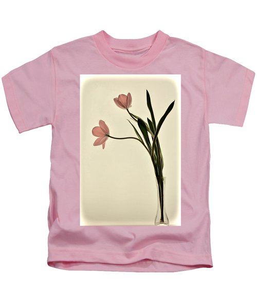 Mauve Tulips In Glass Vase Kids T-Shirt