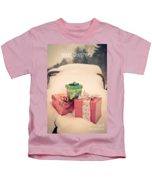 Merry Christmas Vintage Car Card Kids T-Shirt