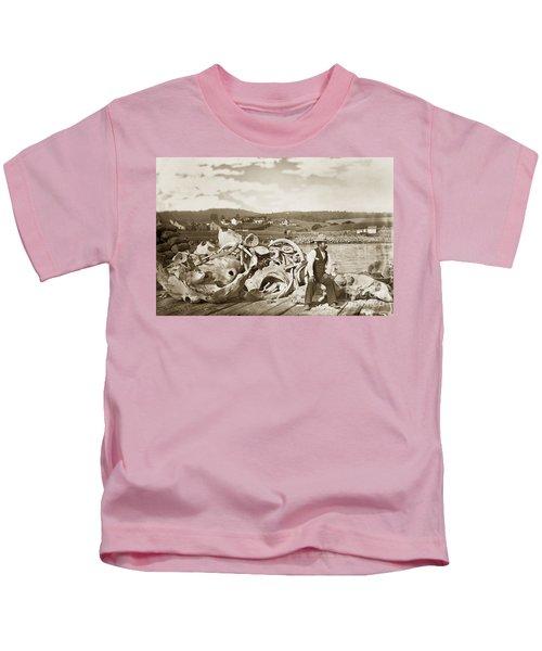Michael Noon Sitting On A  Pile Of Whale Bones Monterey Wharf  Circa 1896 Kids T-Shirt