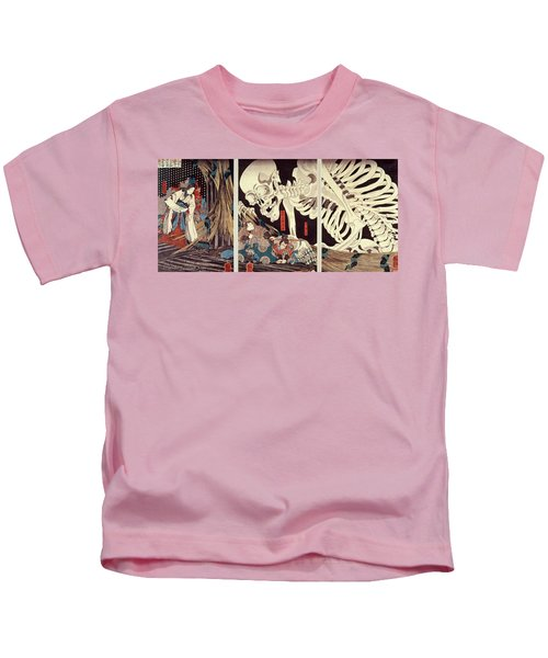 Mitsukini Defying The Skeleton Spectre, C.1845 Hand Coloured Woodcut Print Kids T-Shirt