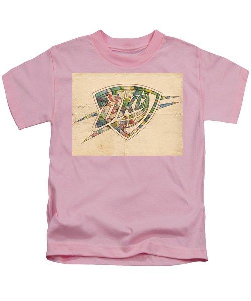 Okc Thunder Logo Art Kids T-Shirt