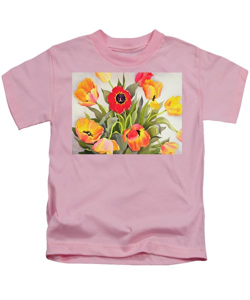 Orange And Red Tulips  Kids T-Shirt