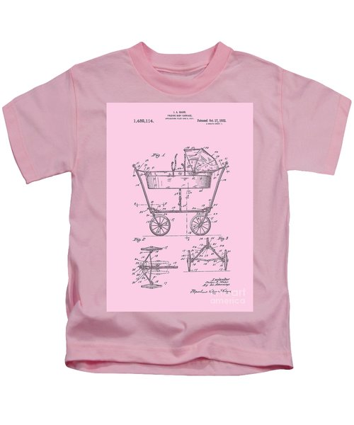 Patent Art Baby Carriage 1922 Mahr Design Pink Kids T-Shirt