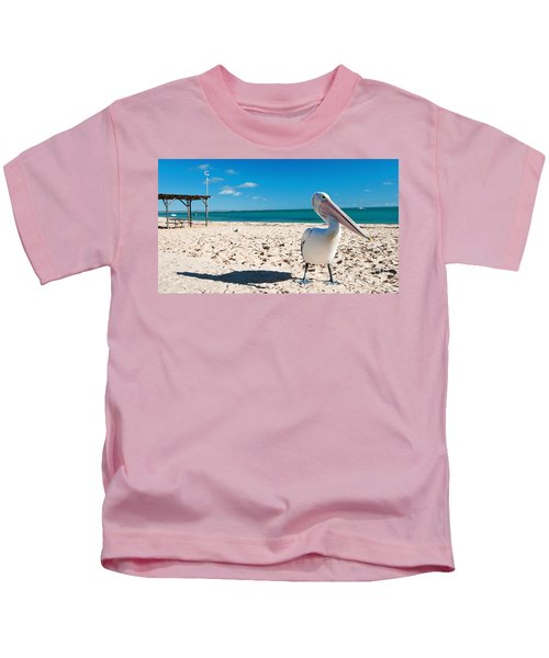 Pelican Under Blue Sky Kids T-Shirt