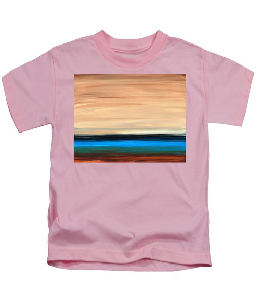 Perfect Calm - Abstract Earth Tone Landscape Blue Kids T-Shirt